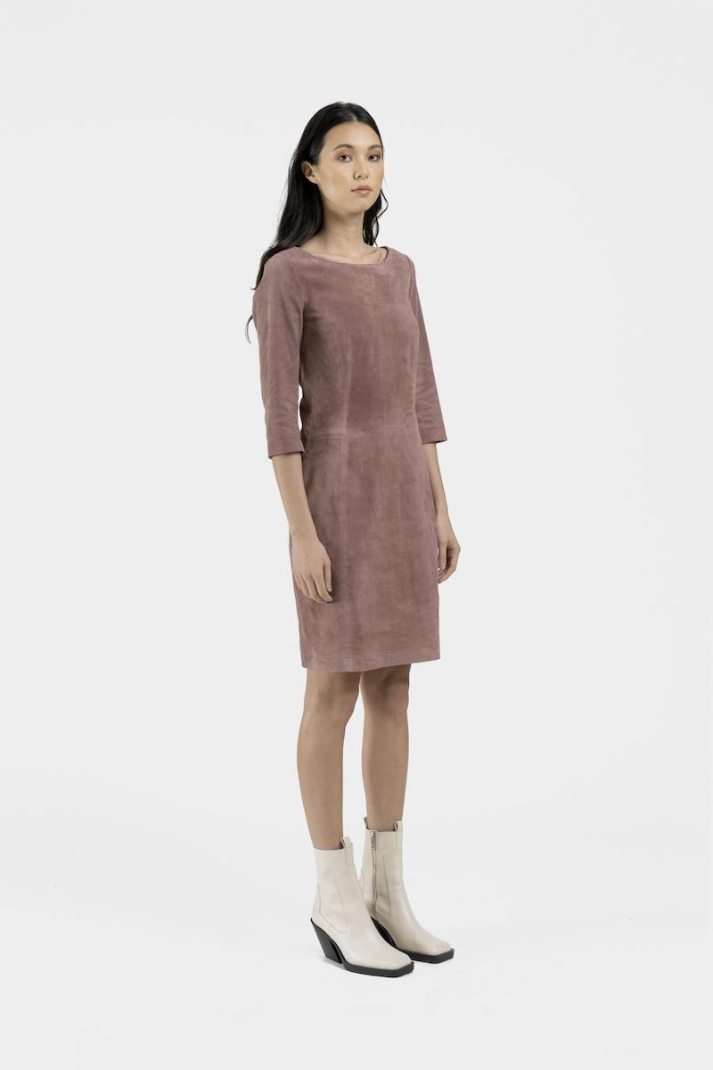 Porto-robe-daim-stretch-rose-cote