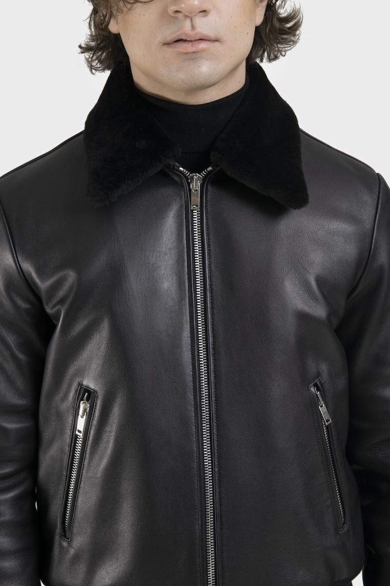 Legato-blouson-veste-cuir-agneau-noir-detail