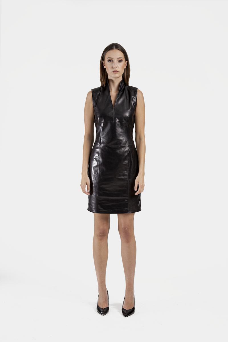 Dakota-robe-cuir-agneau-plongé-devant