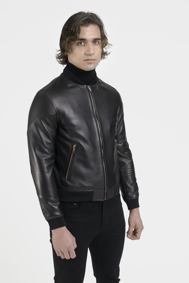 Hugo-blouson-veste-cuir-agneau-noir-cote