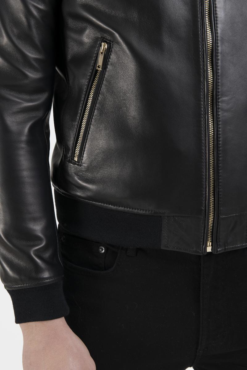 Hugo-blouson-veste-cuir-agneau-noir-detail