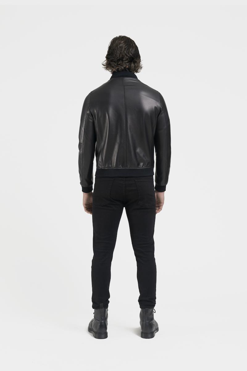 Hugo-blouson-veste-cuir-agneau-noir-dos
