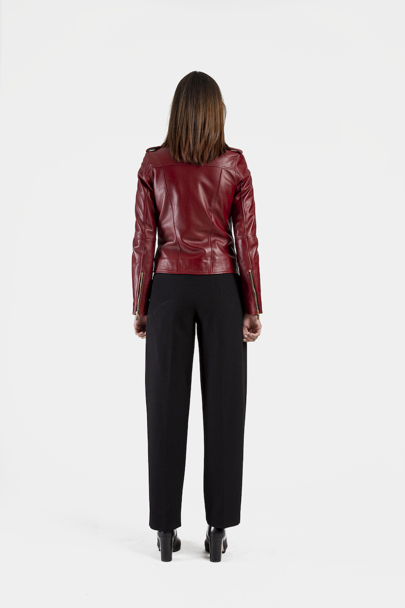 Perfecto-exclusif-cuir-agneau-rouge-dore-dos