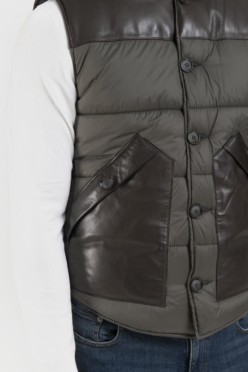 presley-gilet-doudoune-tissu-cuir-agneau-detail