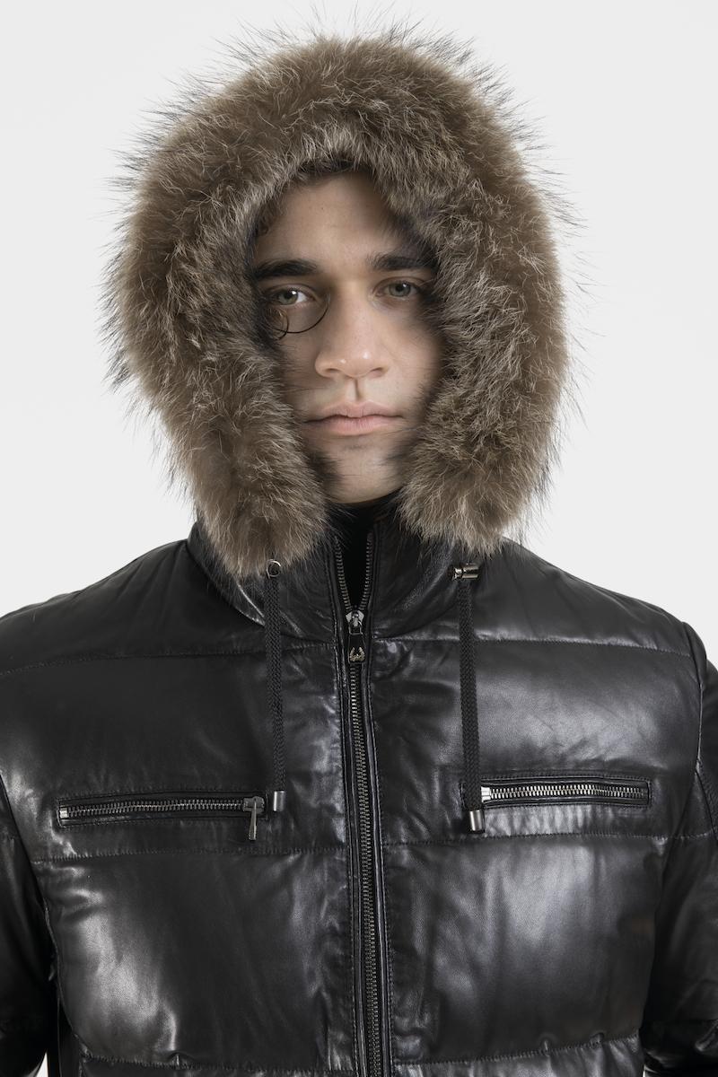 sisto-blouson-veste-doudoune-capuchon-cuir-agneau-detail