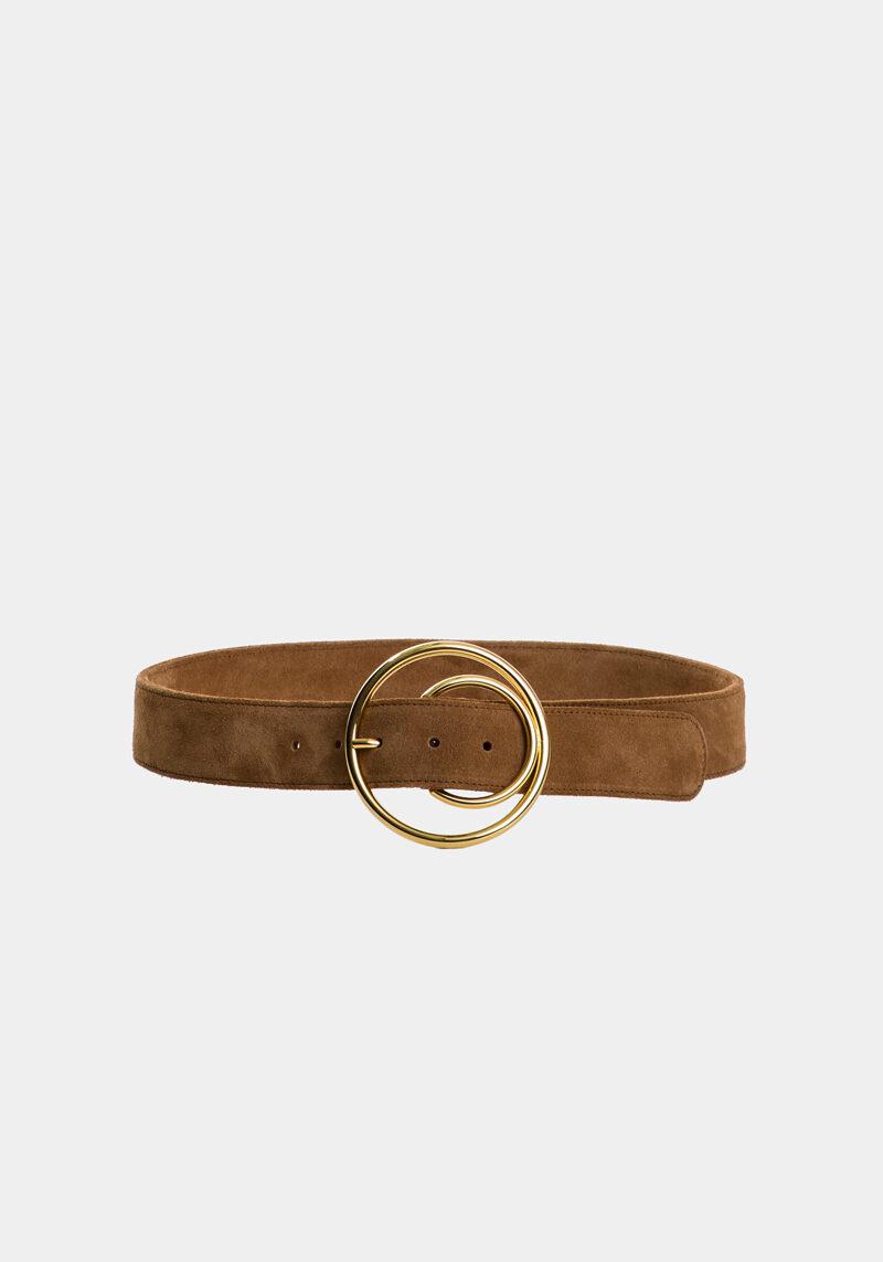 cybele-ceinture-brun-boucle-ronde-gold-cuir-daim-veau-pleine-fleur-face