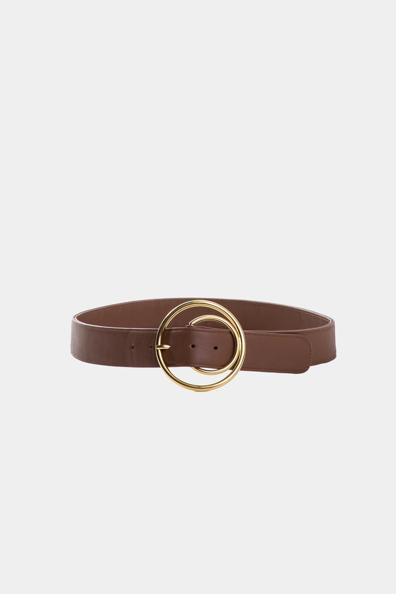 cybele-ceinture-brun-boucle-ronde-gold-cuir-veau-pleine-fleur-face
